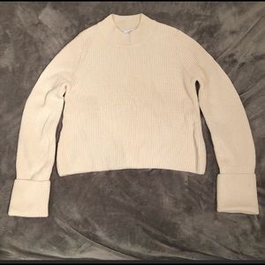 & Other Stories cropped cream cuff sleeve sweater